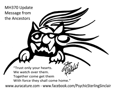 Psychic Sterling Sinclair Auracature Missing Malaysia Plane Flight MH370 370 April 7 2014 Ancestors