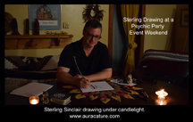 Psychic Sterling Sinclair Oracle Auracature art drawing with feather near Picton Ontario Canada