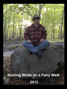 Psychic Sterling Sinclair Oracle Auracature art Sitting on Rock with Fairies Faeries Fairy Outside
