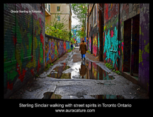 Psychic Sterling Sinclair Oracle Auracature art walking with street spirits Gaffiti Alley Toronto Ontario Canada