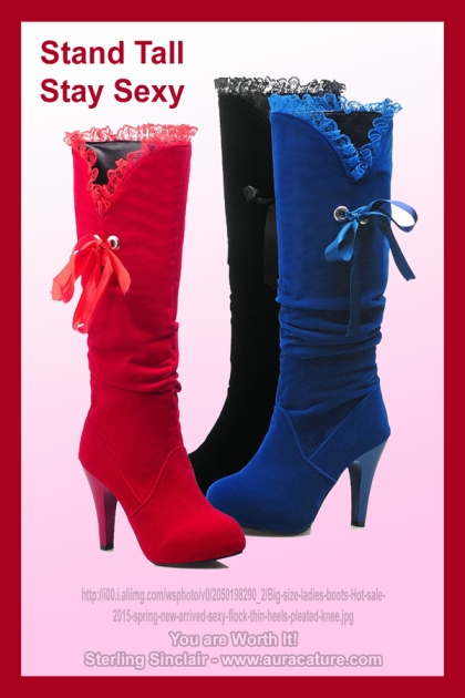 Oracle Sterling Sinclair Psychic Auracature Art Womens Fashion Sexy tall high boots red blue black 2015 sued